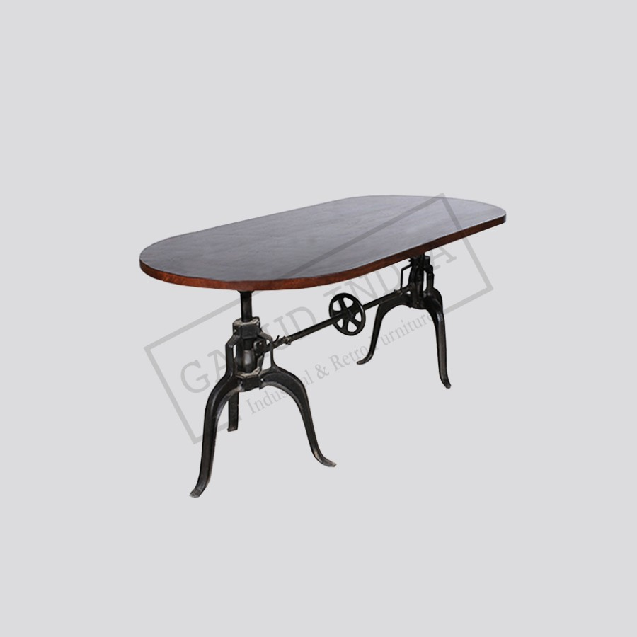 Crank oval top dining table industrial crank oval top dining table geotapseo Image collections
