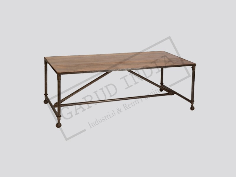 Industrial  Dining Table with small wheels