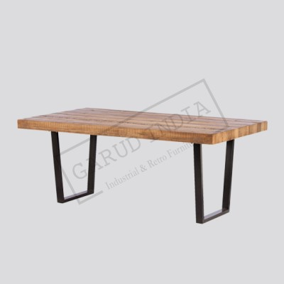 Industrial wood dining table 18