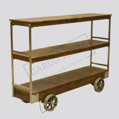 Industrial Rolling Wooden Console