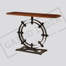 Iron Wood Top Console Table
