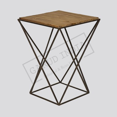 Industrial Loft Metal Reclaimed Wood Side End Table
