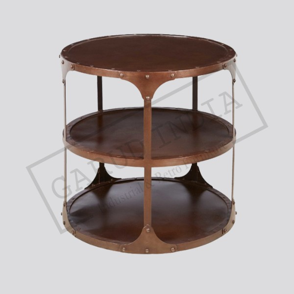 Industrial Loft Round 3 Tier Metal Side Table