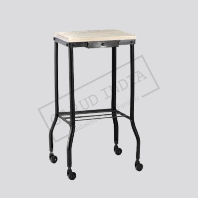 Industrial Metal Side Table with Casters