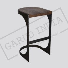 Rustic Wood Metal Bar Stool