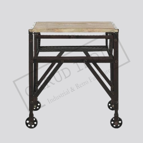 Industrial Rolling End Table