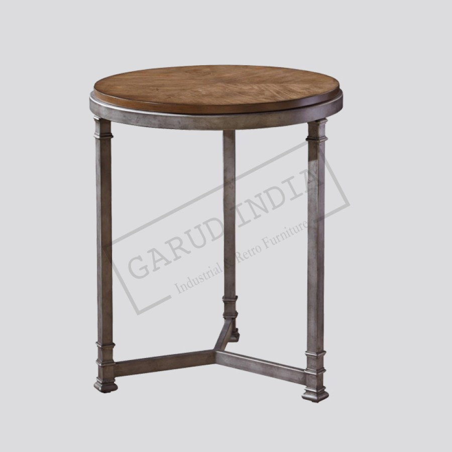 Industrial 3 Legged Round Metal Side Table