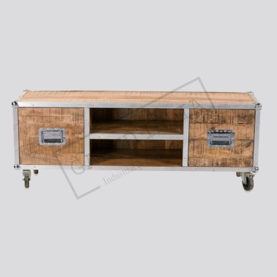 Industrial TV Unit with 2 drawers and shelves
