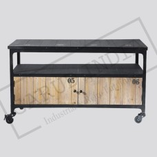 Wood and metal industrial TV unit