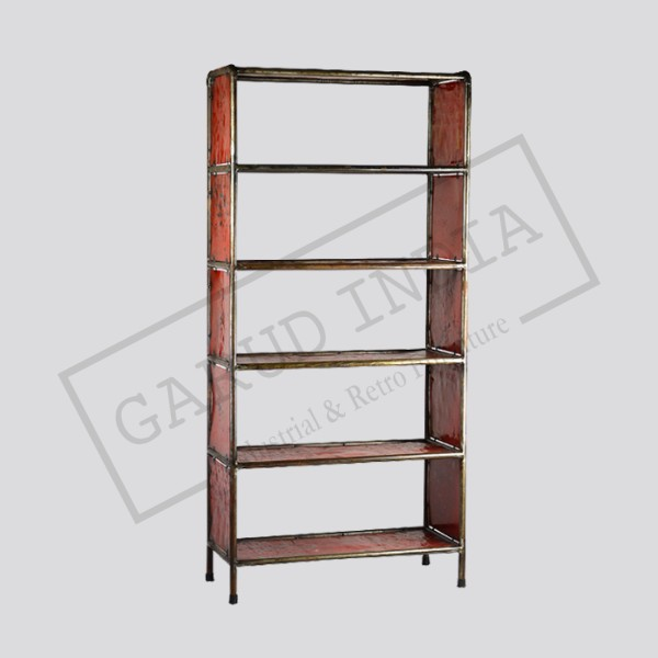 Red Metal Bookcase