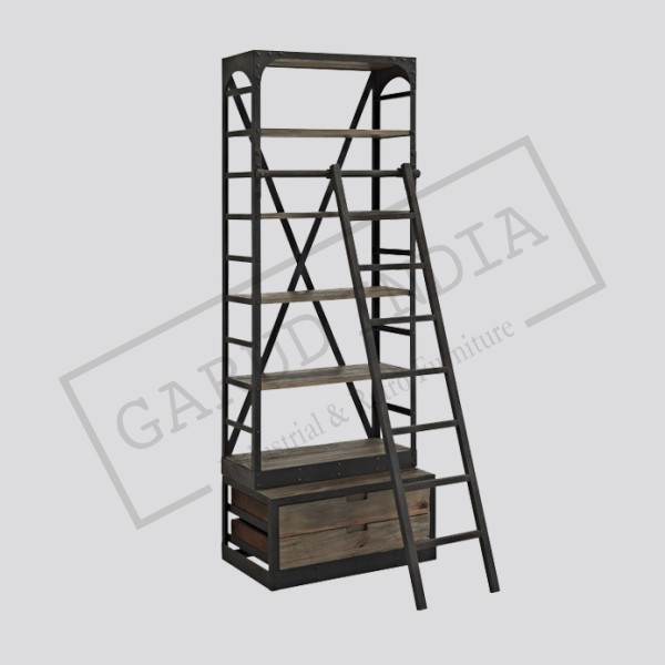 Wood and metal Bookshelf with ladder
