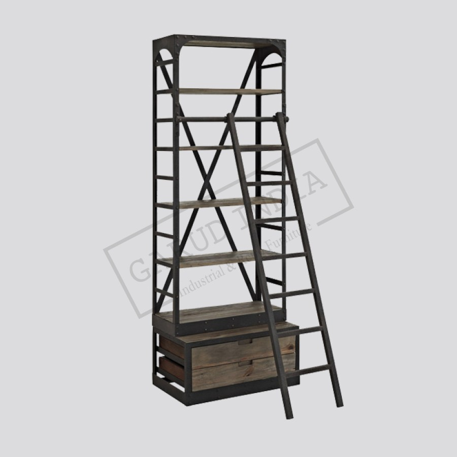 metal with bookshelf product popup and ladder index wood