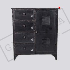 Industrial Metal Cabinet with 3 Drawers