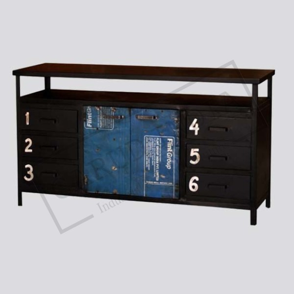 Industrial 6 drawer iron cabinet