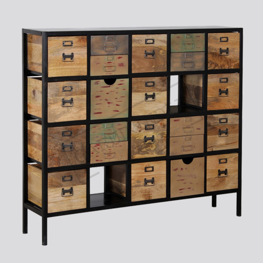 Industrial Iron Frame Wooden Drawer Cabinet