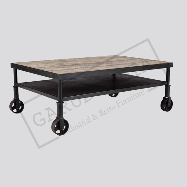 Industrial Coffee Table with 2 Shelves