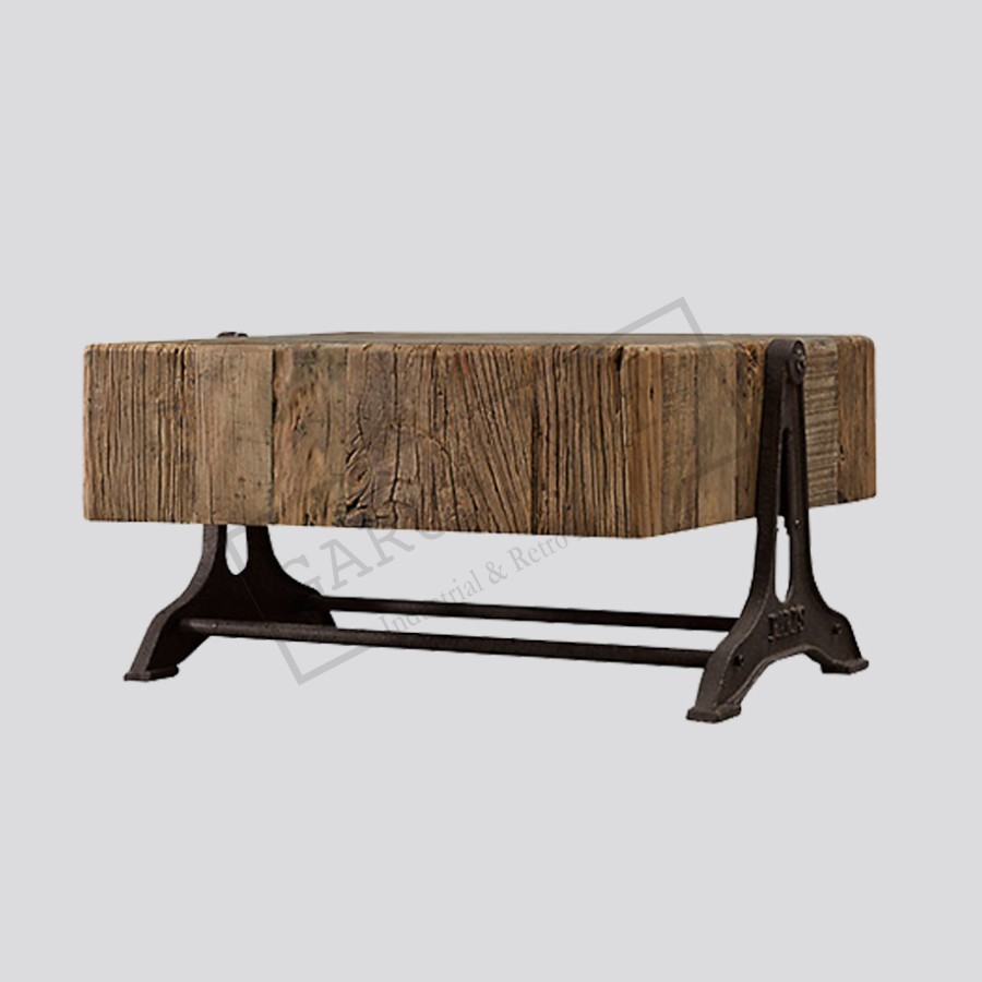 Railway sleeper wood coffee table industrial railway sleeper wood coffee table geotapseo Gallery