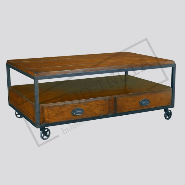 Industrial Rectangular Storage Coffee Table