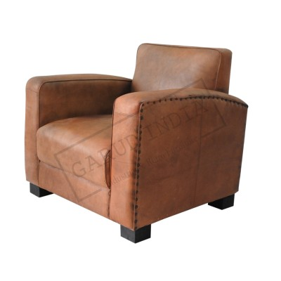 Leather 1 seater club sofa