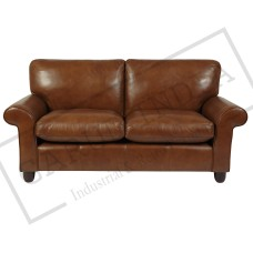 Leather 2 seater club sofa