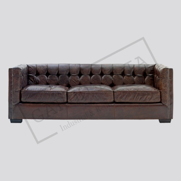 Industrial Black Leather Sofa