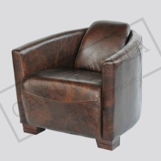 Brown Top Grain Leather Club Chair
