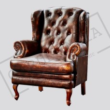 Chesterfield Wingback Leather Armchair