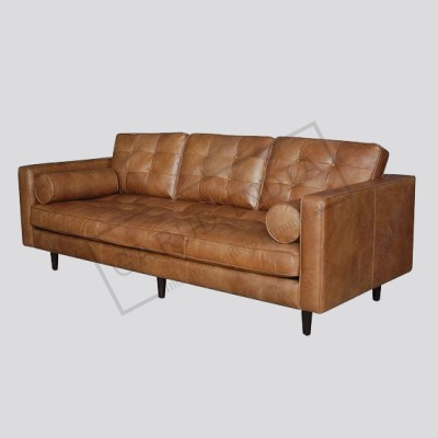 Cigar Distressed Leather Sofa