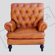 High back leather arm chair